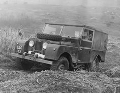 A Land Rover being driven in 1956.