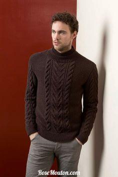 Pullover homme tricoté avec la laine Merino+ (100% mérinos fin) de Lang Yarns.  Catalogue Lang Yarns Urban FAM 238.  #laine #langyarns #tricot #knit #wool