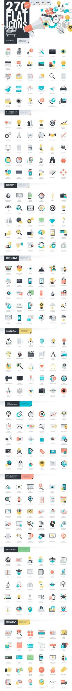 Modern Flat Design Style Icons by PureSolution on Creative Market: