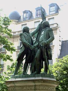 Washington & La Fayette statues, Place des Etats Unis / United States Place, Paris XVI