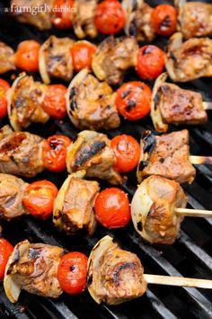 Grilled Sriracha Honey Mustard Beef Kebabs - afarmgirlsdabbles.com #FrenchsMixology #mustard #sriracha #beef #grilling #kebabs
