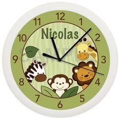 Safari Jungle Animal Personalized Nursery Wall Clock