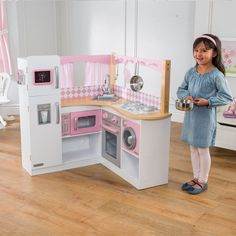 KidKraft 53185 Grand Gourmet Corner Wooden Pretend Play Toy Kitchen for Kids with Role Play Accessories Included, Pink and White Wooden Play Kitchen, Kids Play Kitchen, Play Kitchens, Toy Kitchen, Uptown Kitchen, Kitchen Playsets, Kitchen Decor, Cocina Kidkraft, Gourmet