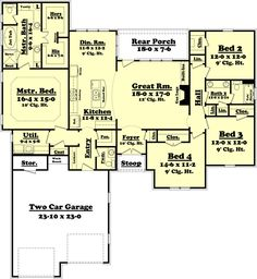 Traditional Style House Plan - 4 Beds 2.50 Baths 2175 Sq/Ft Plan #430-75 Floor Plan - Main Floor Plan - Houseplans.com