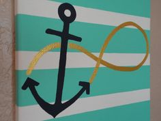 Items similar to Hand Painted Infinity Anchor Canvas- Hebrews on Etsy Canvas Crafts, Diy Canvas, Canvas Art, Canvas Ideas, Painting Canvas, Anchor Canvas Paintings, Anchor Painting, Canvas Quotes, Crafts To Do