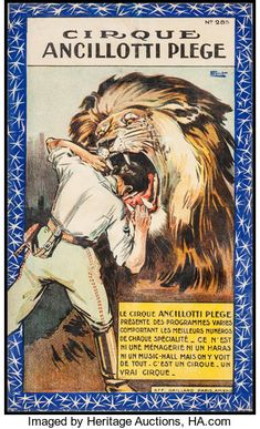 Cirque Ancillotti Plège (c. Full-Bleed Poster X Henri Florit Artwork. - Available at Sunday Internet Movie Poster. Circus Room, Circus Art, Cirque Vintage, Vintage Circus, Vintage Oddities, Lion Tamer, Curiosity Killed The Cat, Museum Art Gallery, Circus Poster