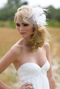 Wedding Veil, Ivory or White, Silk Flower Fascinator, Bridal HeadPiece, Pearl, Swarovski Crystal, Removable Birdcage Veil, Batcakes Couture