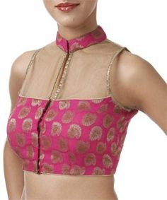 A Contemporary twist to your Saree with Collar Neck Blouse Design. #Saree #Blouse #Designs