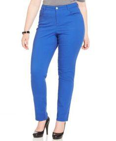 Style&co. Plus Size Tummy-Control Slim-Leg Jeans, Sure Blue Wash-$34.99