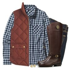 """""""Rust quilted vest & navy gingham"""" by steffiestaffie ❤ liked on Polyvore featuring J Brand, Patagonia, J.Crew, Tory Burch and My Name Necklace"""