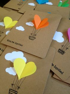 Hot Air Balloon Cards – Balloon Heart Invitation with Envelope – Handmade Cards – Paper Crafts – Heart Invitations – Party Notes Hot Air Balloon cartes ballon coeur par WaterHorseStudios sur Etsy Tarjetas Diy, Diy And Crafts, Crafts For Kids, Hot Air Balloon, Balloon Balloon, Balloon Crafts, Diy Cards, Handmade Cards, Handmade Home
