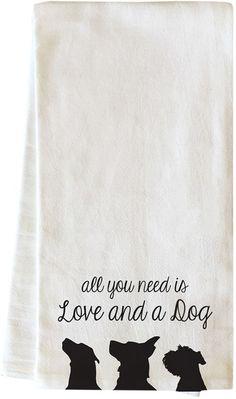 Love and a Dog Silos Cotton Tea Towel by One Bella Casa at Gilt Kitchen Hand Towels, Dish Towels, Tea Towels, Towel Crafts, Dog Crafts, Pouch Pattern, Flour Sack Towels, Cricut Creations, Cricut Vinyl