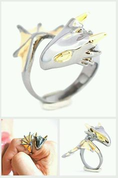 Silver and yellow dragon ring Cute Jewelry, Jewelry Box, Jewelry Accessories, Jewelry Design, Jewelry Making, Jewellery, Pandora Jewelry, Dragon Ring, Dragon Jewelry
