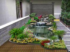 Comfy Minimalist Garden House With Fish Pond Ideas 07 Garden Design Pictures, Home Garden Design, Backyard Garden Design, Ponds Backyard, Small Garden Design, Backyard Landscaping, Home And Garden, Landscaping Design, Backyard Ideas