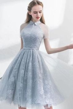 A Line Short Sleeves Tulle Halter Homecoming Dress with Lace Cute Short Prom Dre. - - A Line Short Sleeves Tulle Halter Homecoming Dress with Lace Cute Short Prom Dress Source by Sisastoreofficial Dresses Elegant, Modest Dresses, Sexy Dresses, Cute Dresses, Vintage Dresses, Casual Dresses, Dresses For Work, Summer Dresses, Awesome Dresses