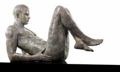 Bronze Garden Or Yard / Outside and Outdoor sculpture by artist Bruce Denny titled: 'Reticence (Restful Naked nude Full life size Man Youth statue statuary)'