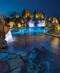 Luxus pool im garten wasserfall  luxus pool hier sind noch tolle ideen für luxus ferienhaus mit ...