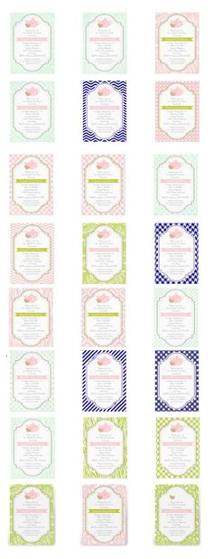 Tea party teapot, frane and patterns wedding bridal shower invitations. Many patterns - stripes, chevron, damask, polka dot,  lace, paisley, floral, houndstooth, gingham- and several colors -pink, green, mint green, blue- available! #bridalshower #invitations, #invites #teaparty