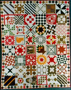 Sampler Quilt c. 1880 with Santa Claus printed square, photo by Geoffrey Carr, formerly in the collection of Shelly Zegart; appears in Why Quilts Matter, Episode 2: Quilts Bring History Alive (DVD)