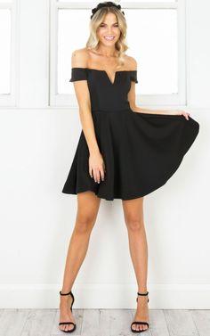 Black V Neck Cut Out Off Shoulder Dress