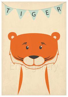 Retro poster tiger savannah jungle animal tiger cub by EmuDesigns