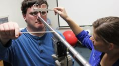 """""""Effective vision therapy for strabismus requires creating a visual challenge that has visual awareness and feedback. Here we see our adult strabismic with exotropia, Jeff, working with his vision therapist Krystal on the Visflex device which is the electronic version of the Brock String. This technique helps Jeff to have better feedback plus she is using minus lenses to help him focus and converge. In addition she is helping him gain tactile input to facilitate convergence with the use…"""