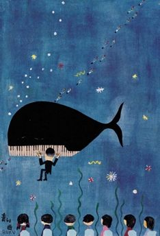 Rokuro Taniuchi - Whale of a piano Kawaii Illustration, Children's Book Illustration, Mundo Musical, Weird Drawings, Piano Art, Whale Art, Whimsical Art, Graphic Design Inspiration, Illustrations Posters