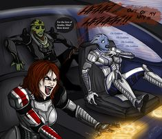 Selene Shepard with her sniper squad. Always some other squad mate is stealing your kills.. __________ Mass effect stuff belongs to Bioware, art made by me.