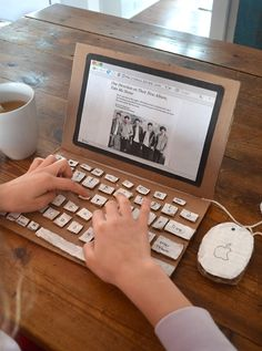 kid-made laptop recycled cardboard ~ great rainy day project
