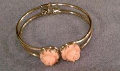 Silver hinge bracelet with rosebud flowers by BoldenBoutique, $20.00