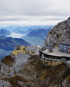"""View from Mount Pilatus Photograph by Adam Jones, Getty Images  A cable-car ride provides sweeping views of Lake Lucerne and the station below from near the top of 7,000-foot Mount Pilatus.  Read more about Switzerland in """"Swiss Tracks"""" in the April 2013 issue of National Geographic Traveler."""