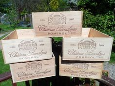 Large (12 full bottles size) Traditional French Wooden wine box Very clean condition Chateau Bonalgue Pomerol by VintageFoggy on Etsy