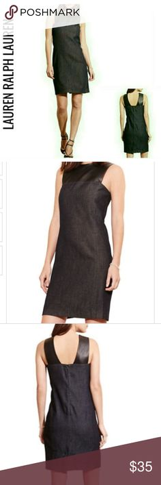 Denim & Vegan Leather Shift Dress NWT $134 6 The modern allure of dark-hued denim meets sleek vegan leather in this shift dress from Lauren Ralph Lauren, a mixed-media piece with day-to-night versatility. Sleeveless shift silhouette. Concealed center back zipper with a hook-and-eye closure. Rounded neckline Contrasting faux-leather front yoke and back shoulder straps. Fully lined. Shell: cotton; yoke: polyurethane; lining: polyester. NWT $134 6 Lauren Ralph Lauren Dresses