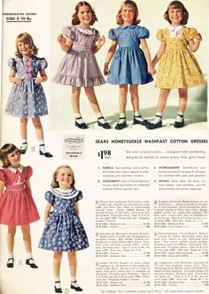 Those collars! Those colours! I love Sears, Roebuck and Co. Catalog from 1948 - Little Girls - Dresses, Coats and Jodpurs, Oh, My! Vintage Kids Fashion, Vintage Outfits, Vintage Girls Dresses, 1940s Fashion, Girl Fashion, Fashion Dresses, Fashion Tips, Teddy Boys, Teddy Girl