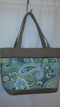 Beautiful Large Green Blue and Tan Paisley Tote / by Lolitasgear