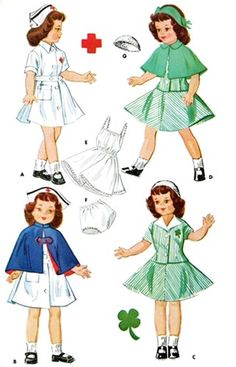 "Doll Clothes Pattern 1894 ~ 14"" or 21"" ~ Toni, Betsy McCall  ~ Red Cross Nurse"