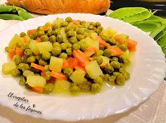 GUISANTES GUISADOS CON PATATA Y ZANAHORIA Healthy Meal Prep, Healthy Recipes, Sin Gluten, Fruit Salad, Meals, Food, Cooking Ideas, Pea Recipes, Frozen Peas