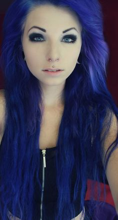 #blue #dyed #scene #hair #pretty