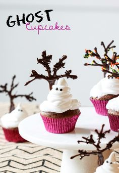 For a sweet and spooky Halloween treat, @Michael Dussert Dussert Dussert Wurm, Jr. {inspiredbycharm.com} made these adorable Ghost Cupcakes. See the full post and recipe here: http://www.bhg.com/blogs/delish-dish/2013/10/16/ghost-cupcakes/?socsrc=bhgpin101613ghostcupcakes