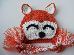 Fox Hat - Orange and White Hat - 3 to 6 Months - Photo Prop - Handmade Crochet - Ready to Ship (26.00 USD) by ShelleysCrochetOle