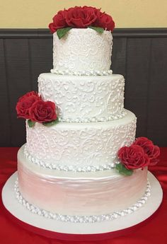 Lace, piped scrolls and Red Roses 4 Tier Wedding Cake, Wedding Cake Designs, Wedding Cakes, Create A Cake, Piping Icing, Gum Paste, Royal Icing, Party Cakes, Red Roses