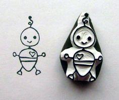 baby boy bot robot stamp. $8.00 USD, via Etsy.