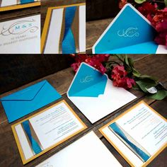 50th Anniversary Invitation with yellow ochre, turquoise blue and offwhite combination. decorated with ribbon and monogram.