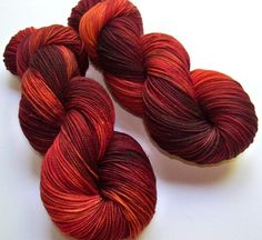 Hand Painted 2-Ply Superwash Merino and Nylon by SeeJayneKnitYarns (Craft Supplies & Tools, Fiber & Textile Art Supplies, Yarn & Roving, Yarn, yarn, superwash, hand dyed, hand painted, fire, red, orange, purple, knitting supplies, knitting, sock fingering, wool, autumn leaves)