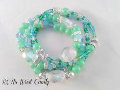 Blue and Green Beaded Bracelet Set by RandRsWristCandy on Etsy, $9.00