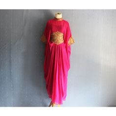 Very Fancy Pink Gown Caftan Dress, Handmade Abaya Maxi Kaftan Dress,... ($44) ❤ liked on Polyvore featuring dresses, gowns, gold evening gowns, tank top maxi dress, maxi dress, embroidered maxi dress and kaftan maxi dress