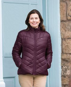Ladies Lightweight Quilted Jacket £52.00  The perfect jacket for our variable spring and summer weather when you need an extra layer but don't want to compromise on style. Exceptionally lightweight and quilted with a stand up collar, chin guard and a pretty contrasting sand lining. 2 zipped side pockets, an inside pocket with Velcro closure and a drawcord to the hem.  Navy or Plum Shooting Clothing, Cool Countries, Country Outfits, Quilted Jacket, Plum, Contrast, Winter Jackets, Weather, Closure