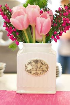 My 2 favorite things...tea and flowers