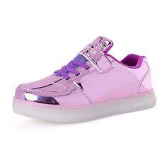 [New Release] Kivors Kids Girls Boys USB Charging 7 Colors LED Lights Luminous Shoes Lace Up Slip-On Fashion Metallic Colors Sneaker (5.5M US Big Kid, Purple) - Brought to you by Avarsha.com