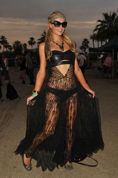 Here's all of Paris Hilton's crochet look at Coachella 2014